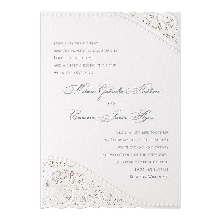 lace wedding invitation wrap%0A Vintage elegance is definitely present on this invitation with lasercut  lace accenting your wording
