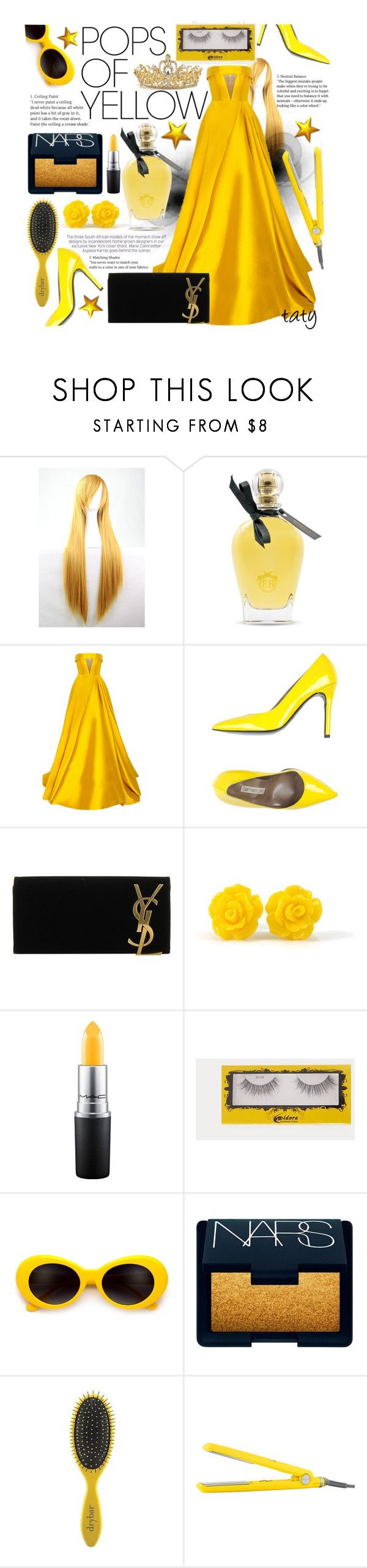 """Pops Of Yellow-Contest"" by joaquimsobreiro on Polyvore featuring WithChic, EB Florals, Alex Perry, Gianmarco Lorenzi, Yves Saint Laurent, John Lewis, NARS Cosmetics, Drybar, PopsOfYellow and NYFWYellow"