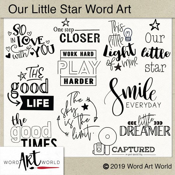Digital And Printable Overlay Word Art Set Instant Download Kids Clip Art Stamps Png Scrapbooking Personal Use Word Art Drawings Word Art Word Art Fonts