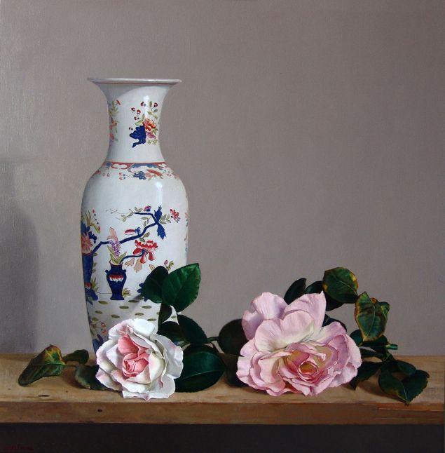 """Fernando Lopez Pascual,  """"Rosas y jarrón chino"""""""