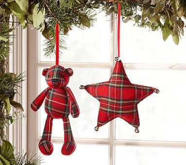 Christmas ornaments. Simple enough to make.  Have some similar colour fabric…