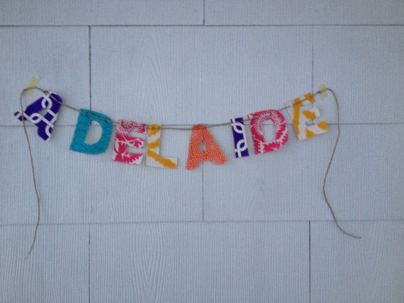 Custom Fabric Name Banner by cookiesandmilk2 on Etsy-- These would make great Teacher Gifts! Last name I'd think??