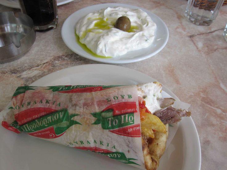 Gyros and tzatziki in Athens, Greece.