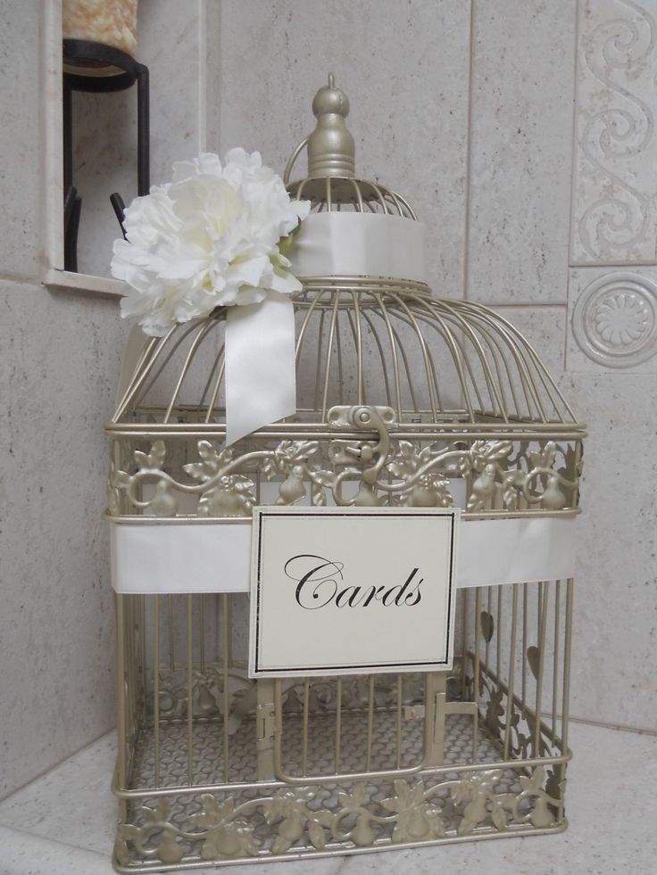 wedding gift card holders%0A Wedding Card Box   Birdcage Wedding Card Holder   Gold Bird Cage For Wedding  Gift Table on Etsy
