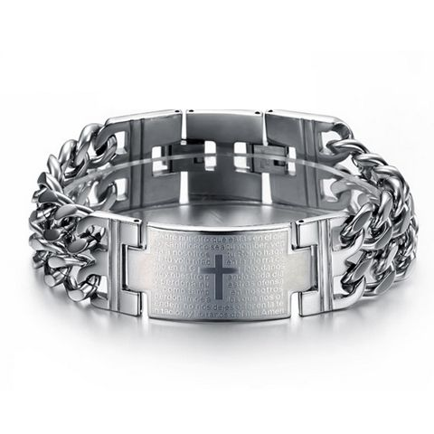 bold-cross-stainless-steel-mens-bracelet florencescovel.genuine-leather-titanium-male-bracelet  #fathersday #jewelry  gifts  ideas  http://www.planetgoldilocks.com/jewelry2.htm