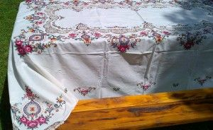 OLD COUNTRY ROSES IN PULL THREAD VASE COTTON TABLECLOTH  SHOP NOW https://thelaceandlinensco.com/store/products/old-country-roses-in-pull-thread-vase-cotton-tablecloth  #shopvintage #vintagedecor #weddings #lace #battenburg #antique #handembroidered #vintagedoily #vintagefinds #victorian #vintagegoods #vintagelinens #linens #vintagetablecoth #tablecloth #decor #cotton #bedding #cottage #home #1940s #curtains #shower #french #vintagecotton #diy #bedding