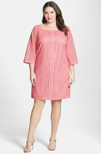 London Times Eyelet Shift Dress (Plus Size) available at #Nordstrom