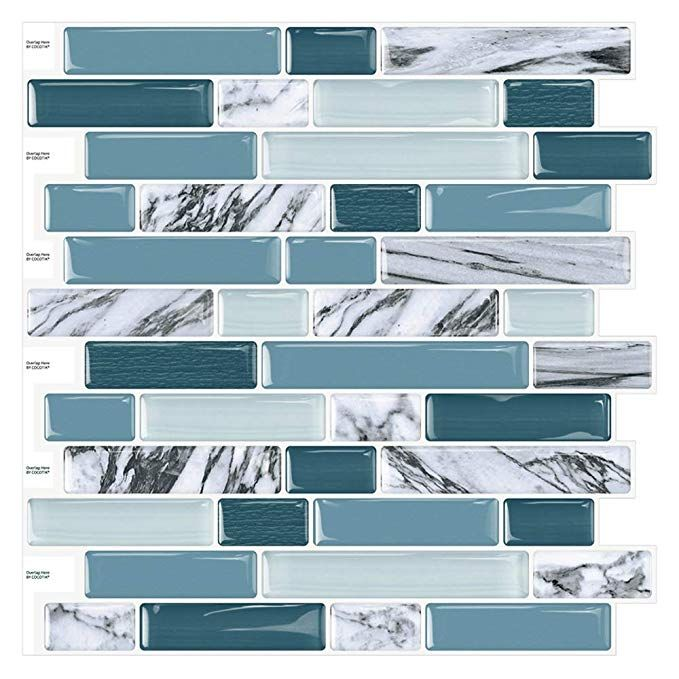 Amazon Com Cocotik 12 X12 Peel And Stick Kitchen Backsplash Wall Tile Arabesque Design 10 She Kitchen Tiles Backsplash Stick Tile Backsplash Tile Backsplash