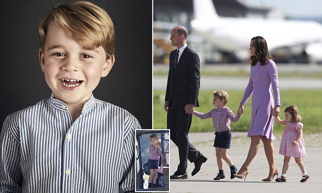 On the eve of Prince George's fourth birthday, his parents have released an adorable portrait of their son at Kensington Palace, in which he flashes a gap-toothed grin for the camera.