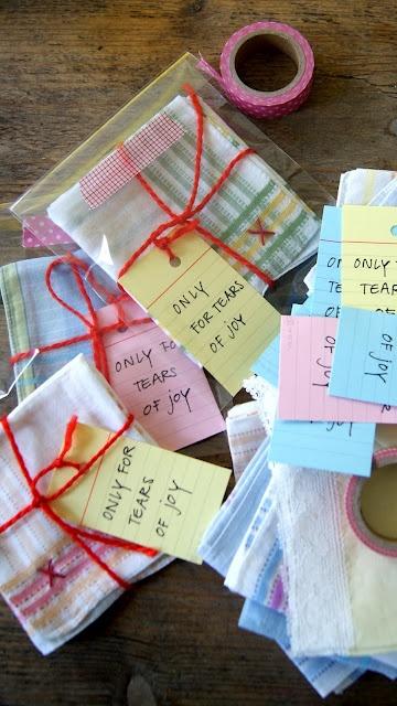 """Handkerchief present. Zakdoek-cadeautje! Idea from ingthings: """"Only for tears of joy""""."""