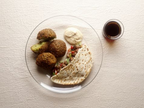 Feb. 9, 2014, Baked Falafel Recipe - Falafel Recipes  Made with tzatziki and tomato/onion mixture from chicken gyros