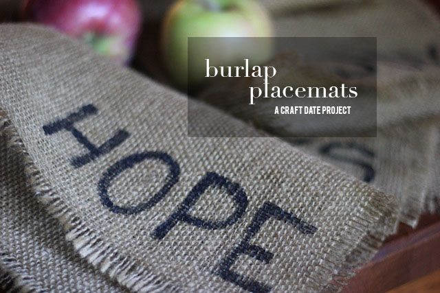 Burlap placemats | DIY idea - make with various Christmas-y words