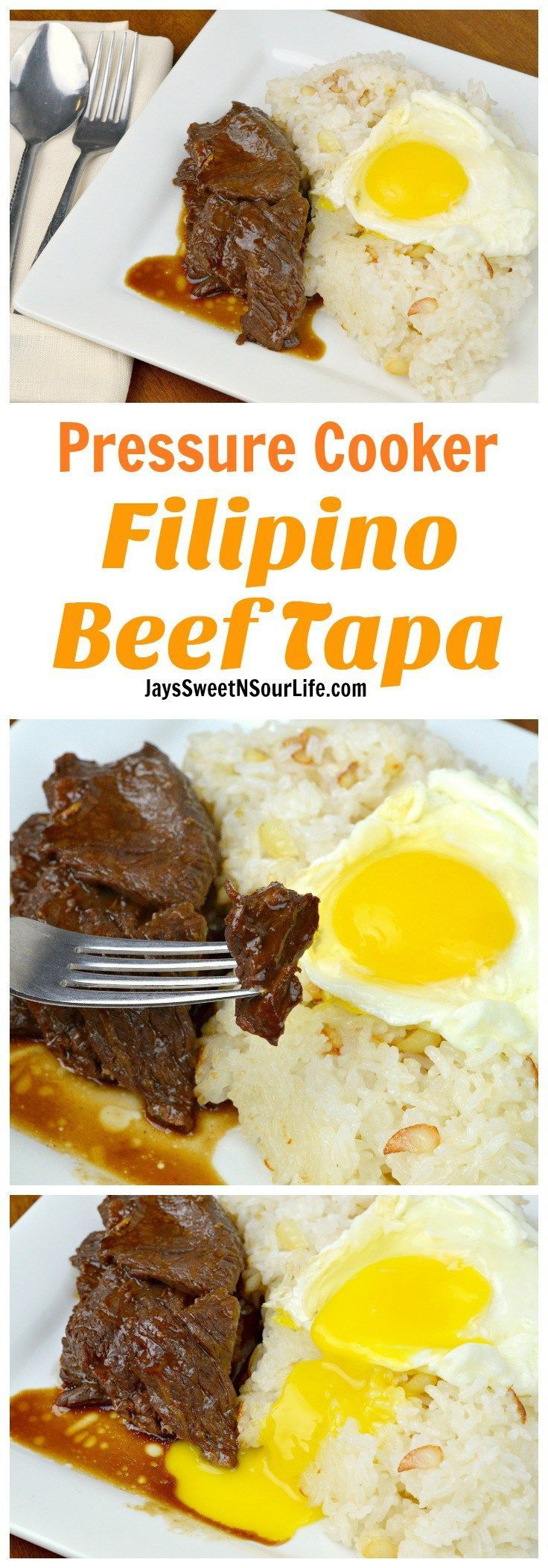 Pressure Cooker Filipino Beef Tapa is a traditional Filipino breakfast dish made inside a pressure cooker. It cuts like butter and is finger licking good.