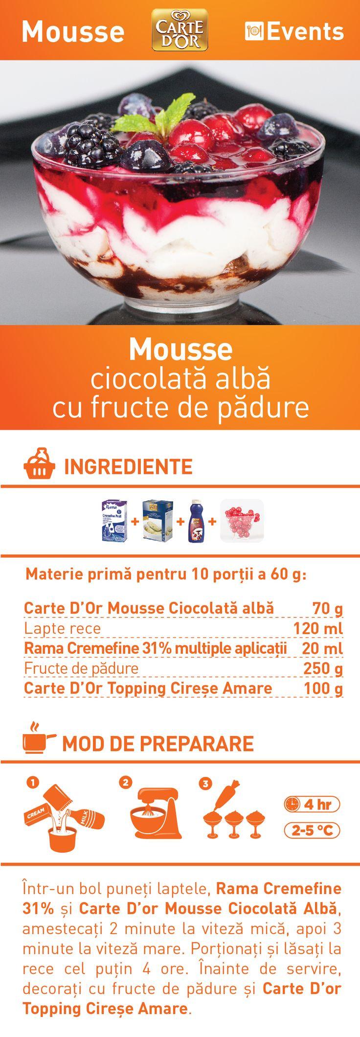 Mousse ciocolata alba cu fructe de padure - RETETA