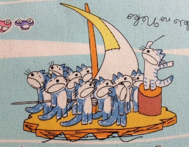 11 Piki no Neko - Blue - Cotton Fabric by Noboru Baba. $14.95, via Etsy.