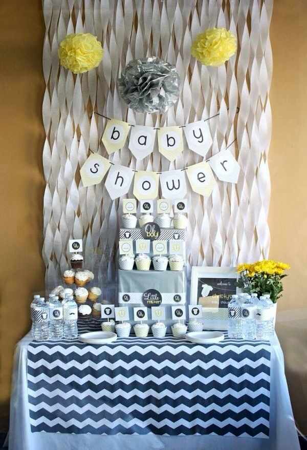 Gray U0026 Yellow Baby Shower Decorating Ideas   Backdrop For Showers