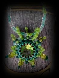 Green Spring pendant necklace,beaded ,handmade