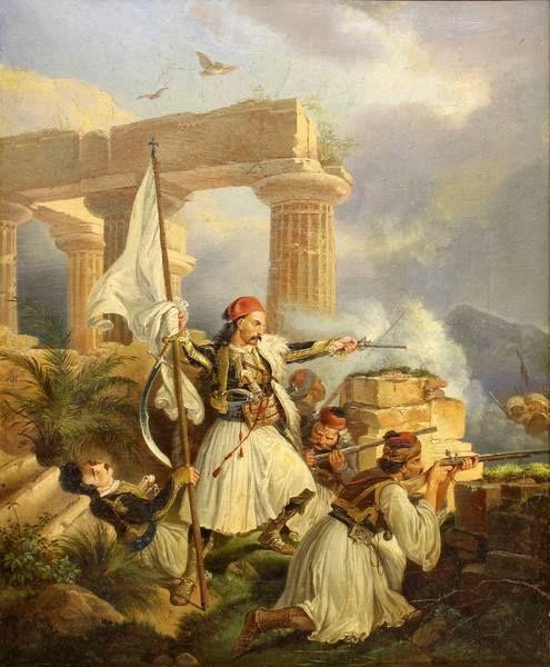 Peter von Heß (1792-1871), Oil on canvas, signed and dated 1829, 33 x 27 cm, Ο Γεώργιος Καραισκάκης στην μάχη (;)