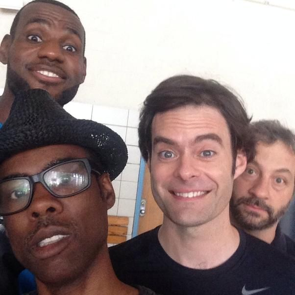 """Chris Rock shared an excellent selfie with his""""Trainwreck"""" director and co-writerJudd Apatow, as well as co-stars Bill Hader and LeBron Ja..."""