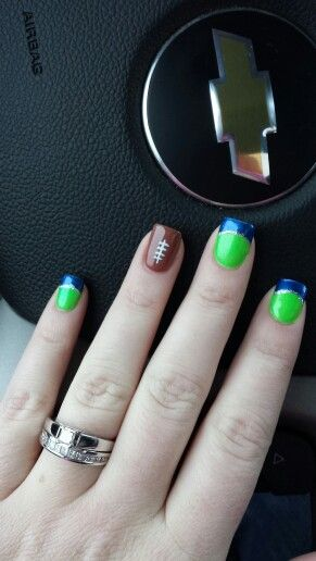 Cute! Super Bowl ready nails