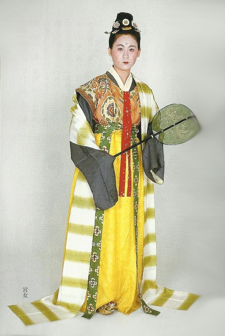 "Scan P1: Court lady of the Nara Period (710-784) , Japan. Textiles during this period of Japan were often brocade ones heavily influenced by China (and in some cases the cloth itself was directly imported from that country)  . Scan from book ""The History of Women's Costume in Japan.""  Scanned by Lumikettu of Flickr.  Japanese costume many centuries ago…recreation accomplished in Kyoto during the 1930's.."
