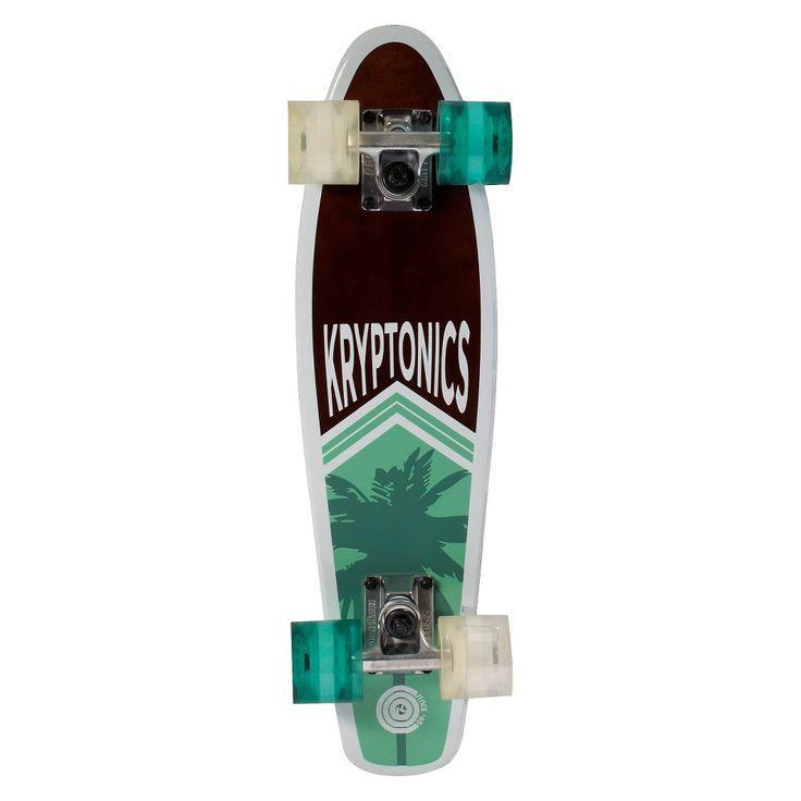 Kryptonics Wood Torpedo Skateboard - Palm Cruise, Brown/Turqoise/White
