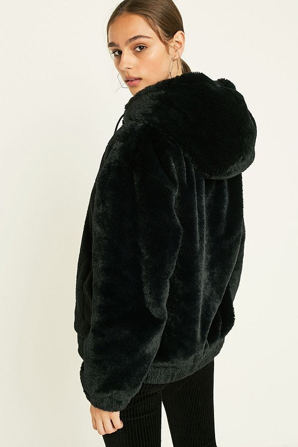b41c135db UO Faux Fur Hooded Bomber Jacket | INSPOOOO | Hooded bomber jacket ...