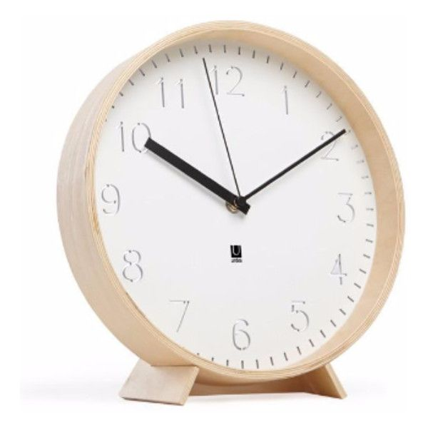 White Natural Wood Wall Mantel Clock ($58) ❤ liked on Polyvore featuring home, home decor, clocks, wall clock, wood desk clock, wooden mantel clocks, umbra clock and wooden stand