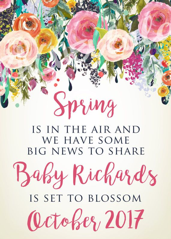 This floral watercolor spring pregnancy announcement is a printable template. It is a great way to announce you are pregnant and having a baby. After purchasing, I will customize the announcement with your wording and you will receive a printable jpeg file that can be printed at home or