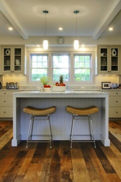 simple back wall kitchen with island