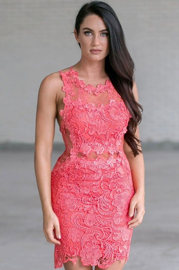 Lily Boutique Secret Crush Crochet Lace and Mesh Dress in Watermelon, $52 Pink Lace Sheath Dress, Pink Lace Cocktail Dress, Cute Summer Party Dress www.lilyboutique.com