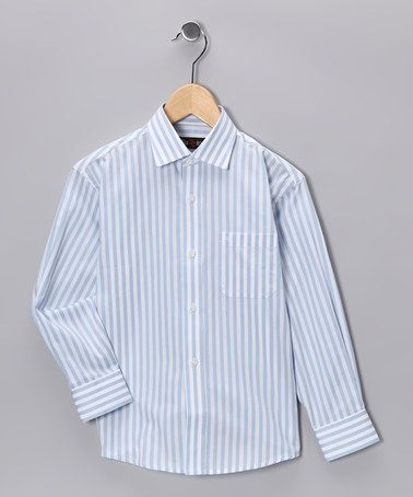 Take a look at this Light Blue & White Stripe Button-Up - Boys by Fazzio on #zulily today!