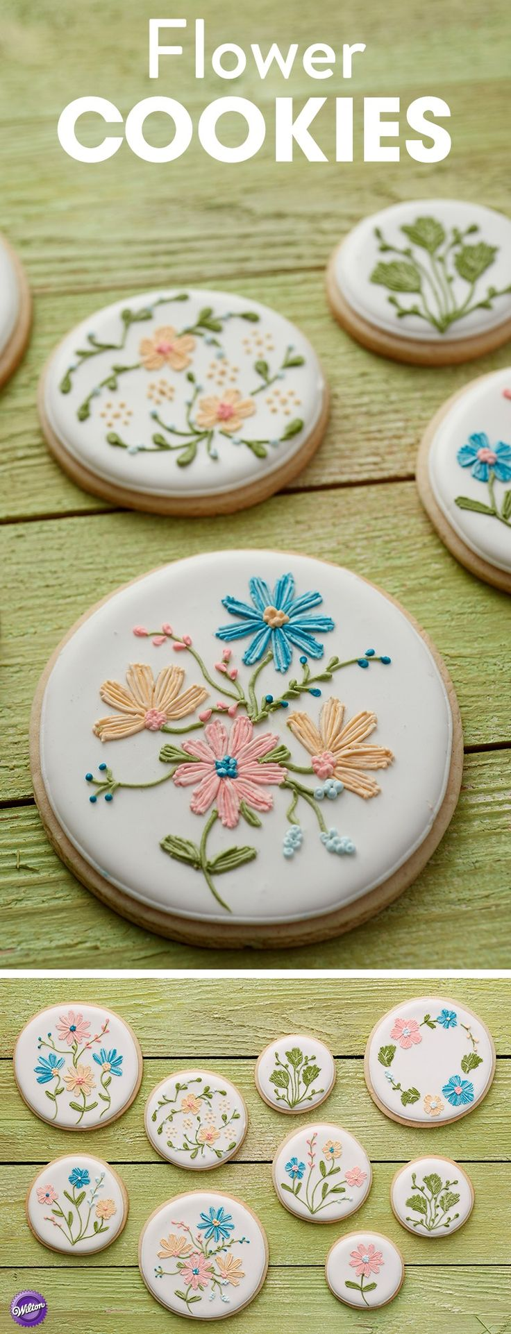 Learn how to make these pretty flower cookies that are perfect for wedding, shower or Mother's Day! The flower decorations are outlined using Wilton FoodWriter pens, so you know you'll get the perfect design every time. Stripe your decorating bags with shades of the same color icing to create a lovely stripe effect on your flowers that makes them look like they were plucked right from the garden!