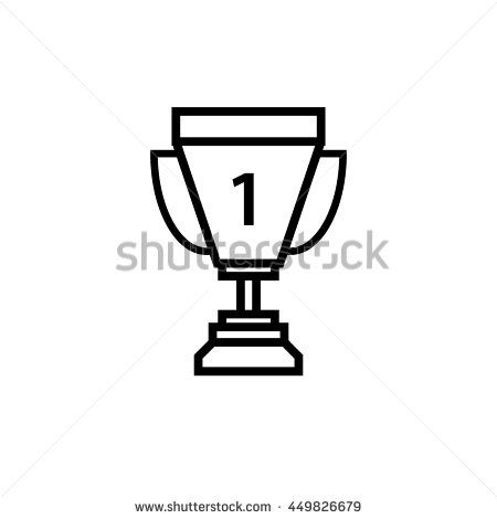 Trophy icon 1st winner , line art vector Illustration.