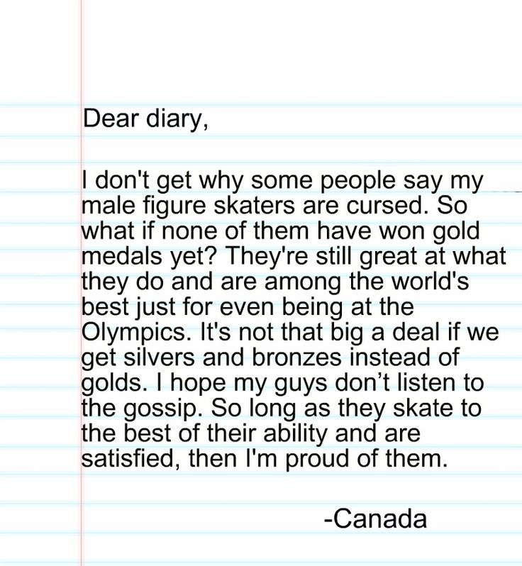 "A Hetalia Diaries entry by Kita Inoru: ""My most recent entries have been inspired by events from the 2014 Sochi Winter Olympics. This is in response to a rumour that came up about a ""curse"" after a Canadian male figure skater came just short of a gold medal - again. For more info, click here: http://ca.sports.yahoo.com/news/patrick-chan-won-t-blame-%E2%80%9Cthe-curse%E2%80%9D-for-allowing-an-olympic-gold-medal-to-slip-away-214304088.html """