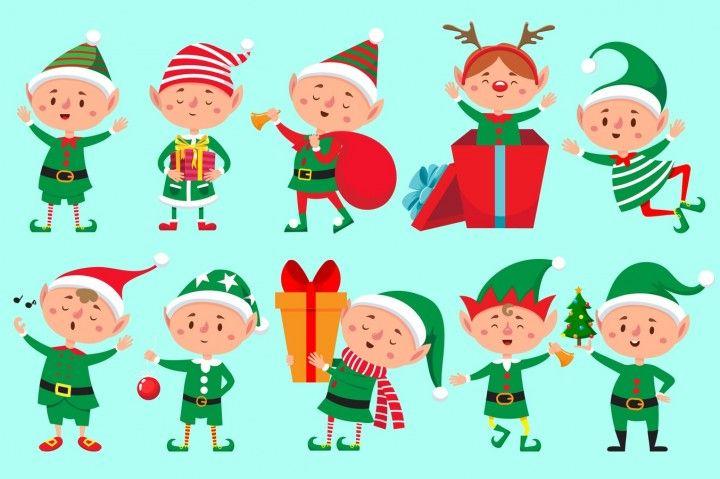 Christmas elf character. Santa Claus helpers cartoon, cute