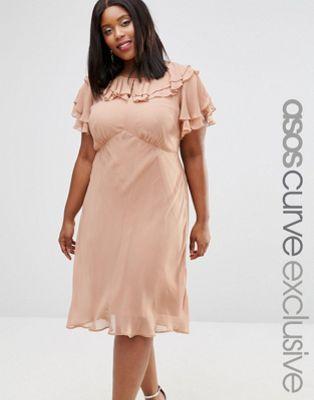 ASOS CURVE Midi Tea Dress With Pretty Ruffles