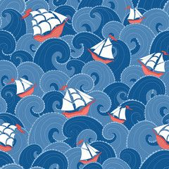 Nautical background. Sea ships and waves seamless pattern.