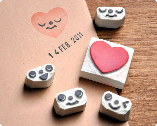 Romantic hand carved heart face change rubber stamps  by Memi The Rainbow