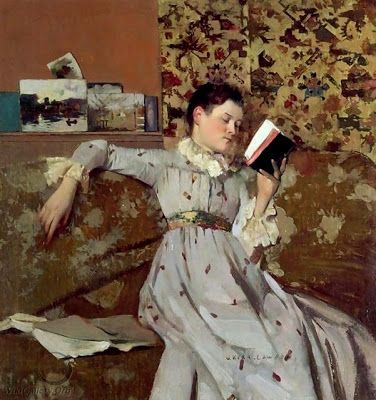 Caterina reading a book, c.1888 by James Kerr-Lawson born October 28, 1865 in Anstruther (Scotland), UK died May 1, 1939 (73) in London, UK