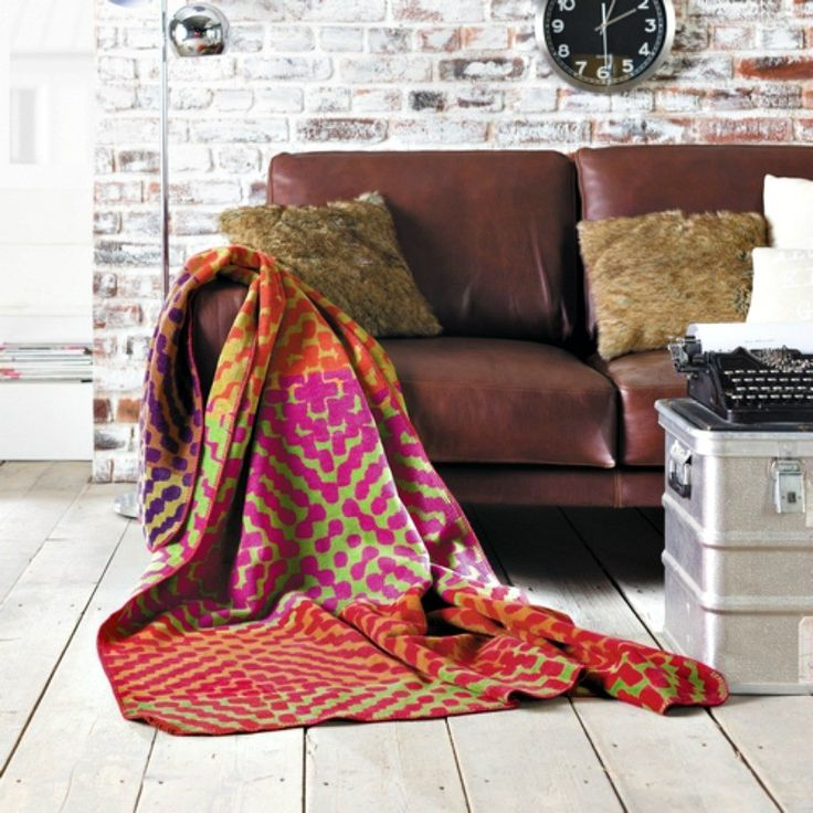 Rust Green Designer Blanket Throw 150x200cms For Sofas Chairs And Beds