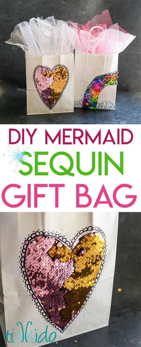 Mermaid Sequin Fabric Gift Bag Tutorial | Tikkido.com