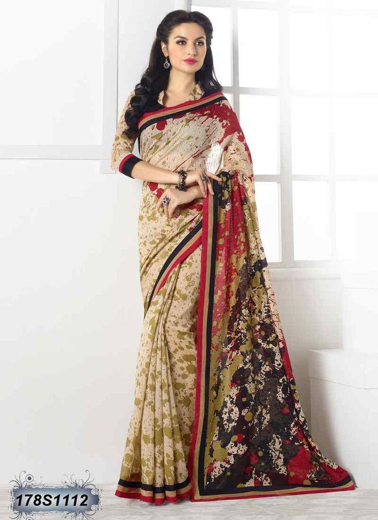 Decent Black and Beige Coloured Linen Casual saree
