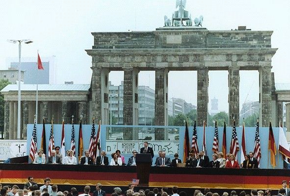 """Mr. Gorbachev, tear down this wall!""  -- President Reagan giving a speech at the Berlin Wall, Brandenburg Gate, Federal Republic of Germany. June 12, 1987."