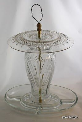 Glass Bird Feeder-hmmm, pretty I wonder how it does from a functional standpoint long term?