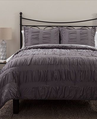 Ruched Stripes Grey 3 Piece Comforter And Duvet Cover Sets
