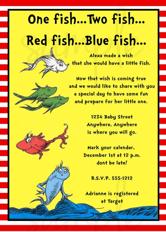Fish Baby Showers, Themed Baby Showers, Invitations For Baby Shower,  Birthday Invitations, One Fish Two Fish, Red Fish, Ideas Party, Birthday  Party Ideas, ...