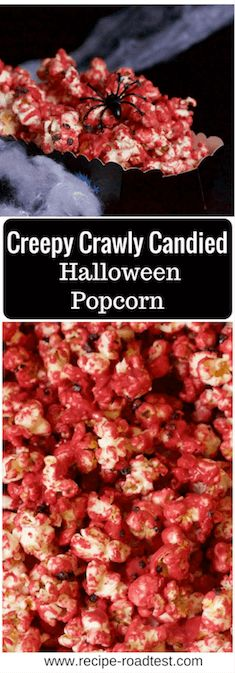 Creepy Crawly Candied Popcorn for Halloween. Easy enough to make for your parties this Halloween! Get the recipe at http://www.recipe-roadtest.com/recipe/creepy-red-candied-popcorn-for-halloween/