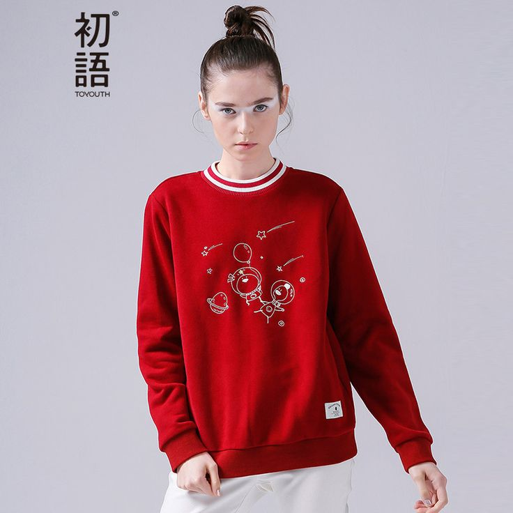 Toyouth New Style Women Cotton Pullovers Sweatshirts Autumn Cartoon Embroidery Striped O-Neck Sweatshirts