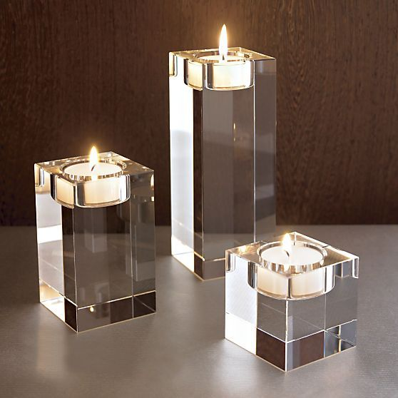 Oslo Crystal Candleholders in Candleholders | Crate and Barrel